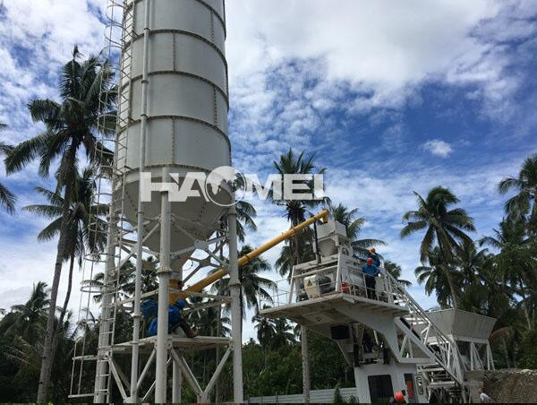 YHZS60-mobile-batching-plant-on-site-installation-in-Philipp