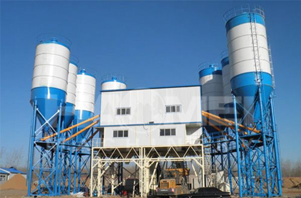 Cleaning method of commodity concrete mixing plant