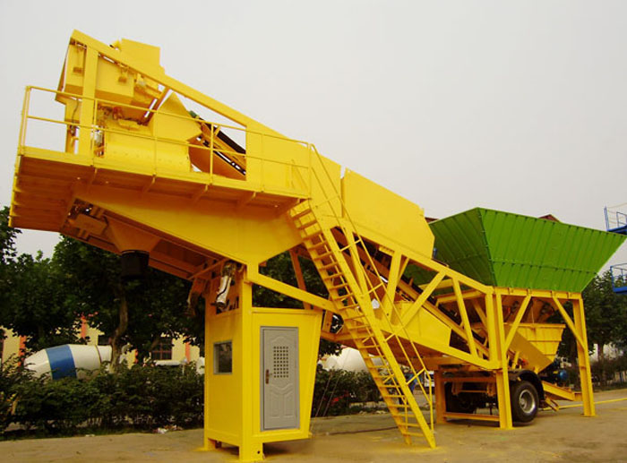 Composition and installation of mobile concrete mixing plant